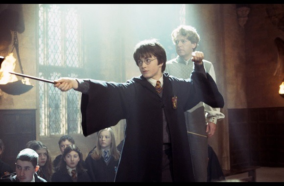 Still from Harry Potter and the Chamber of Secrets with Harry dueling