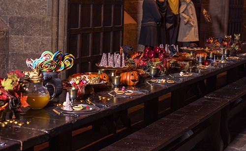 Great Hall at Hallowe'en long table close up