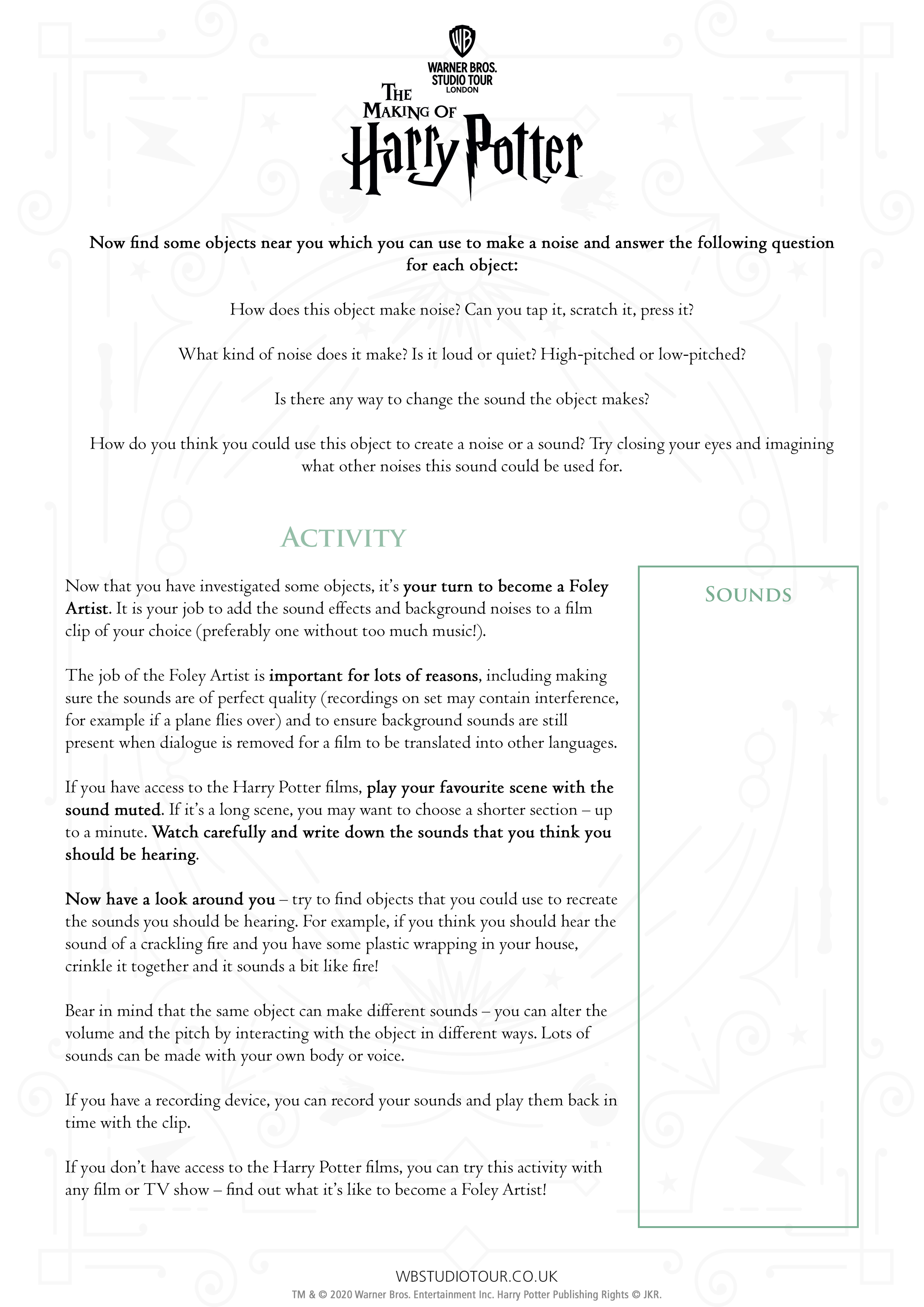 Foley activity sheet page 2