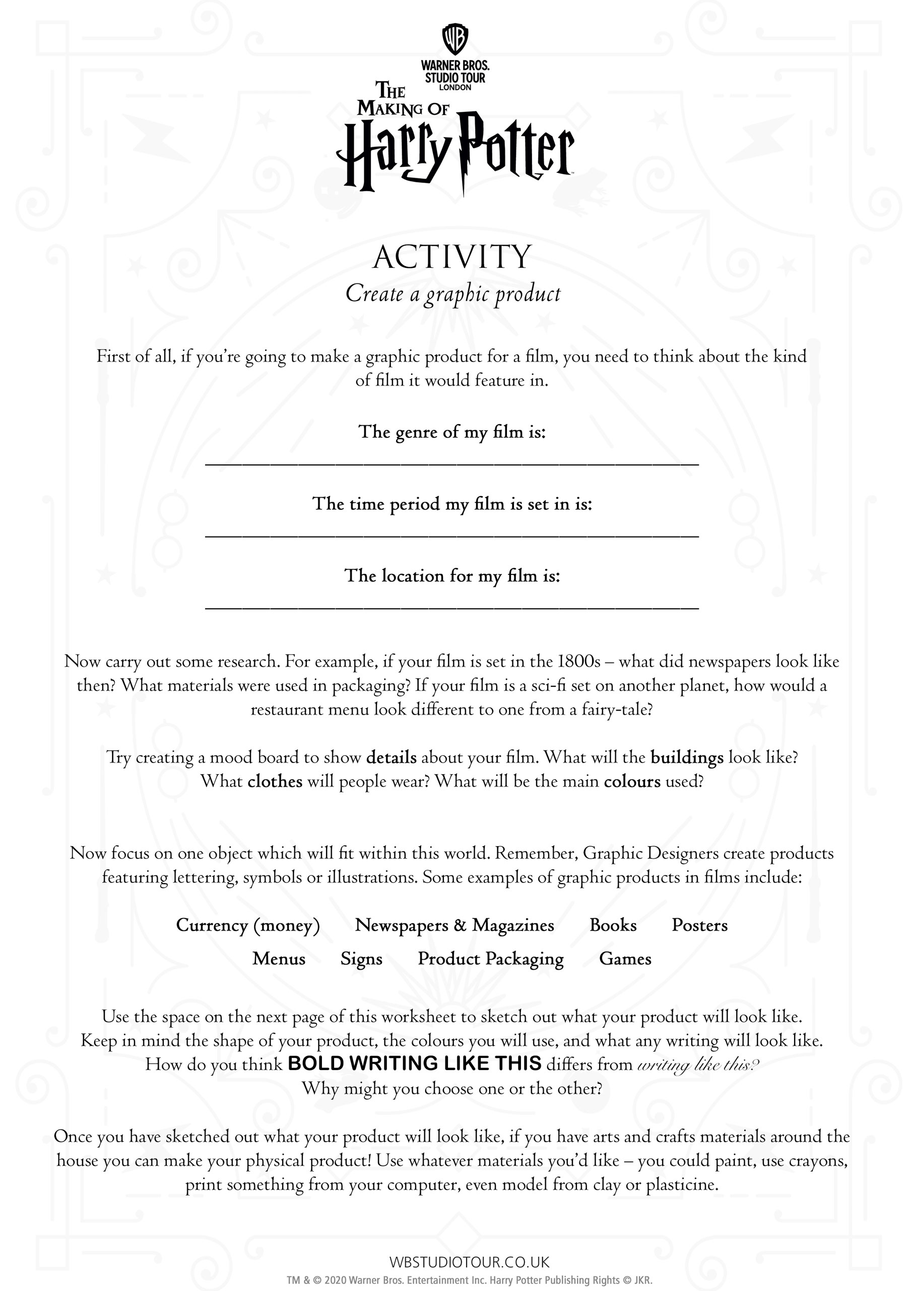 Graphic Design activity sheet page 2