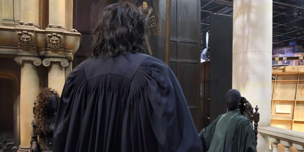 Over shoulder shot of Snape looking at Voldemort