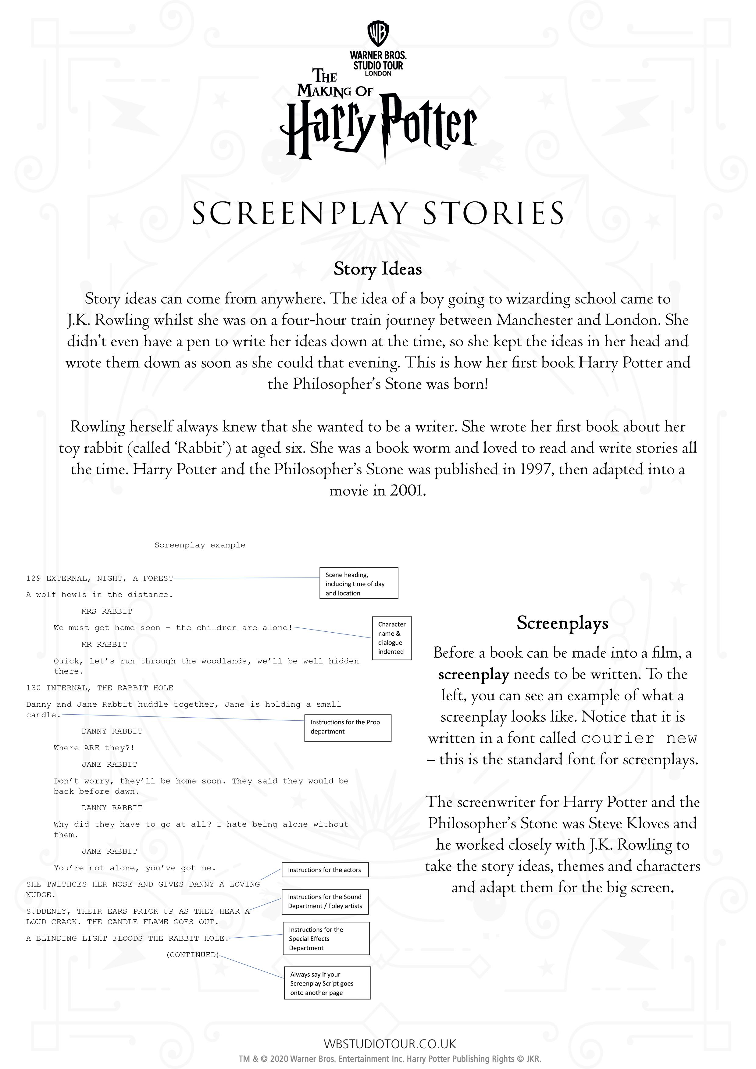 Screenplay activity sheet page 1