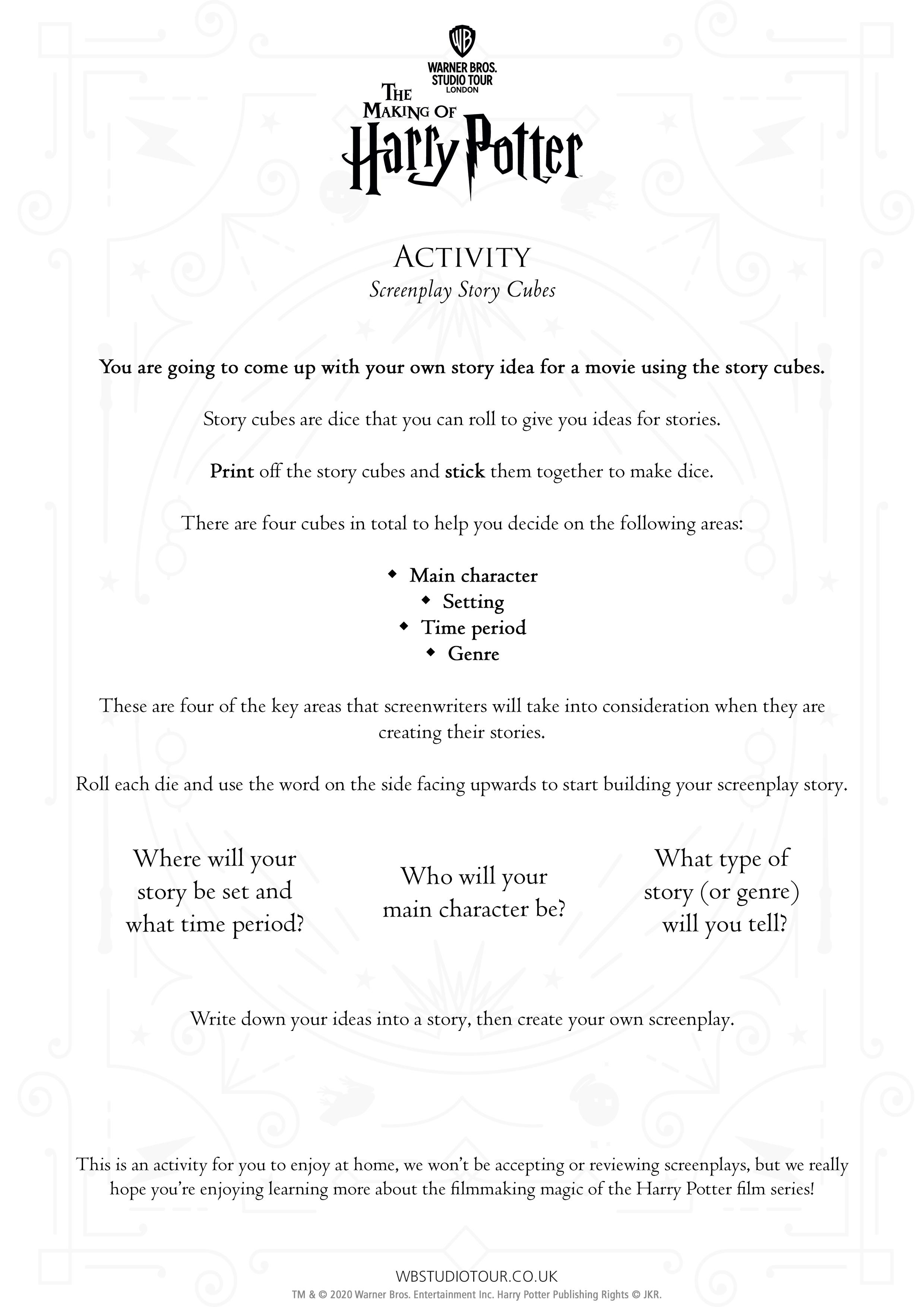 Screenplay activity sheet page 2