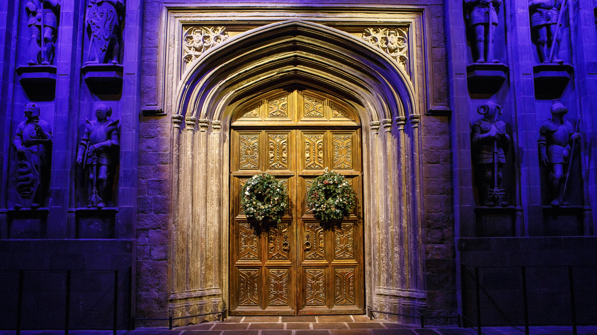 Video call background - Festive Great Hall Doors