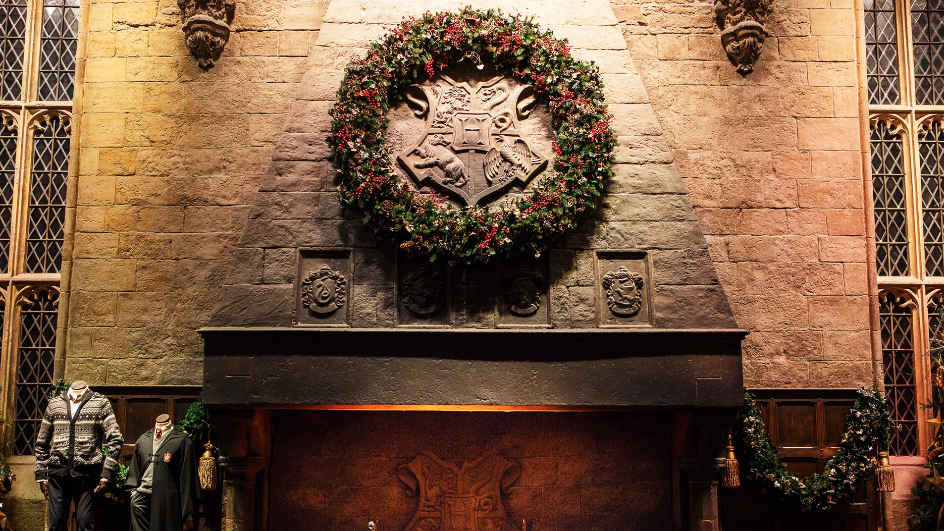 Video call background - Festive Great Hall Fireplace